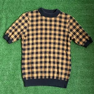 Who What Wear Checkered Mustard/Black Sweater